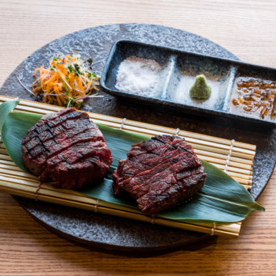 Hokkaido Beef Fillet Steak With Your Choice Of Sauce Japanese Onion And Sesame Sea Urchin Butter Or Ponzu