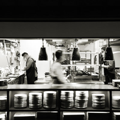 Kitchen in Black and White