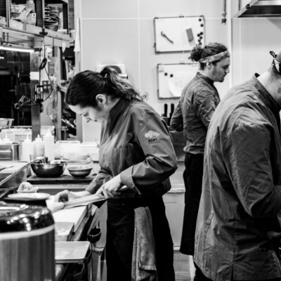 The kitchen team hard at work during another busy Kumo Restaurant service.