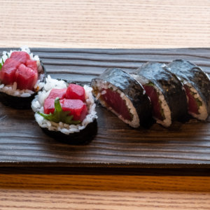 Tuna Shiso Sushi Roll With Shichimi Mayo